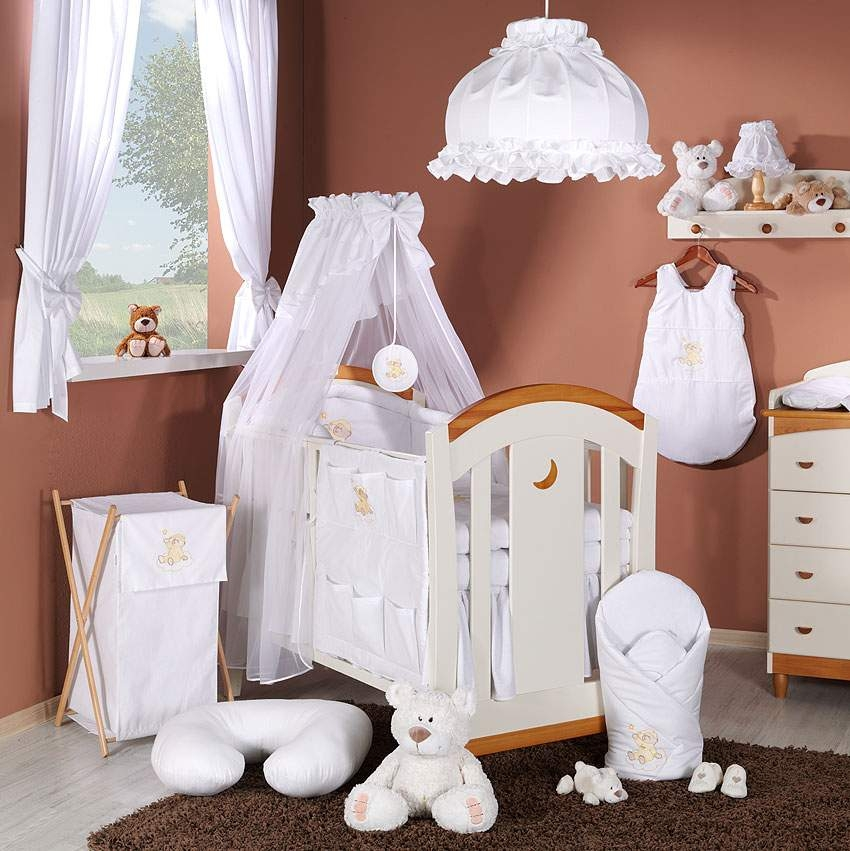 14 tlg babybett set mit stickerei bettw sche himmel nestchen f r bett 60x120 ebay. Black Bedroom Furniture Sets. Home Design Ideas