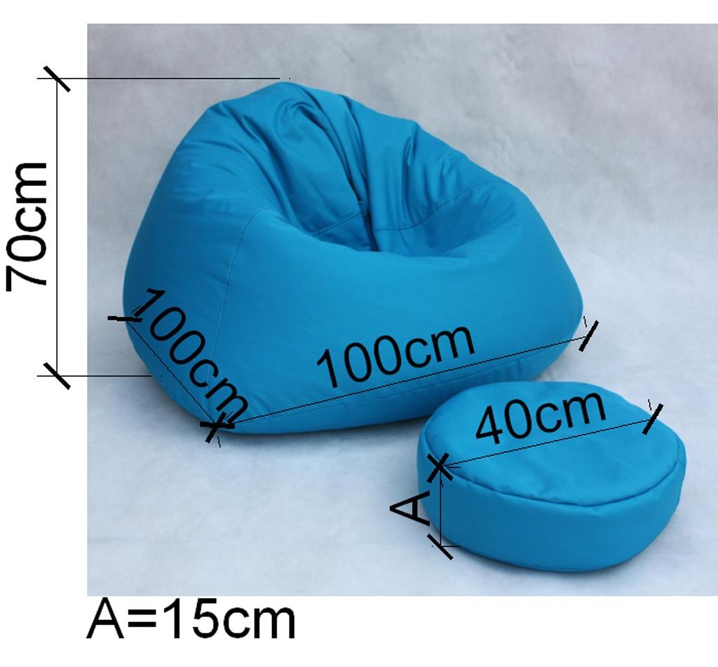 sitzsack loungesessel sessel sofa mit hocker blau ebay. Black Bedroom Furniture Sets. Home Design Ideas